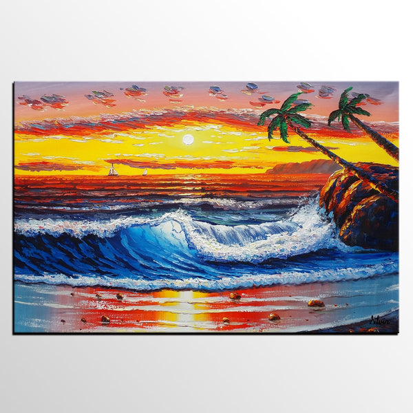 Palm Tree Painting, Canvas Painting, Large Acrylic Painting, Hawaii Seashore Painting - Silvia Home Craft