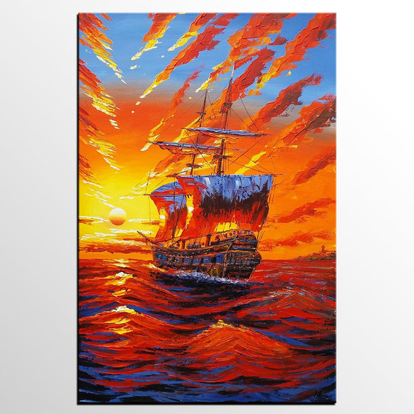 Big Ship Sunrise Painting, Canvas Wall Art, Original Painting, Dining Room Wall Art