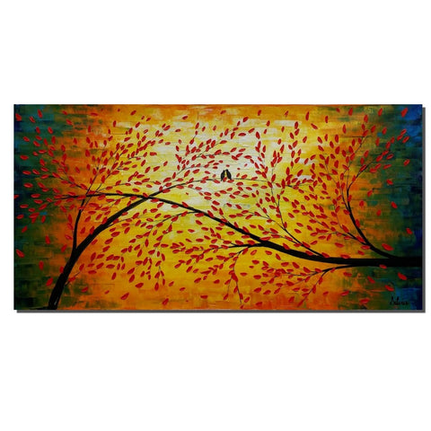 Love Birds Painting, Abstract Canvas Painting, Bird Art, Modern Art - Silvia Home Craft