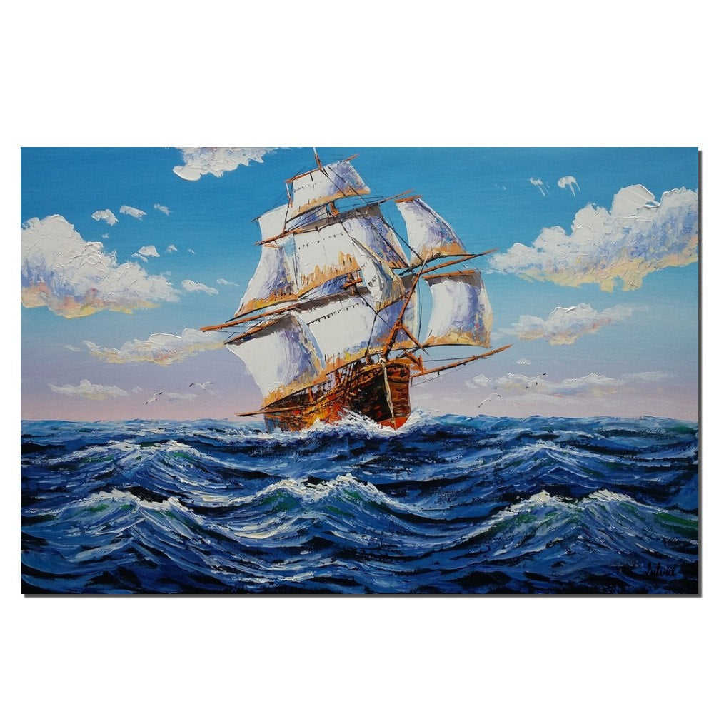 Seascape Painting, Big Ship Painting, Acrylic Canvas Art, Wall Art for Living Room