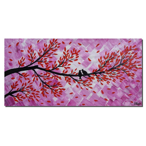 Original Painting, Love Birds Painting, Bedroom Wall Art, Abstract Art - Silvia Home Craft