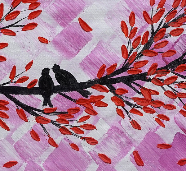 Original Painting, Love Birds Painting, Bedroom Wall Art, Abstract Art