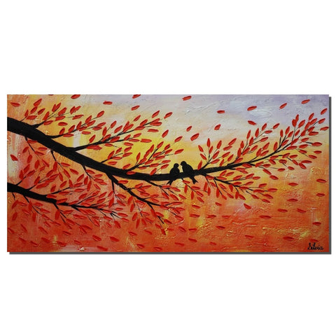 Canvas Painting, Love Birds Painting, Original Painting, Bedroom Wall Art
