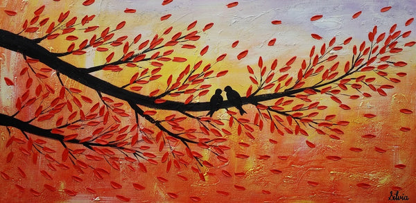 Canvas Painting, Love Birds Painting, Original Painting, Bedroom Wall Art - Silvia Home Craft