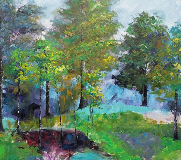 Tree Landscape Painting, Large Painting, Oil Painting, Spring Tree Painting