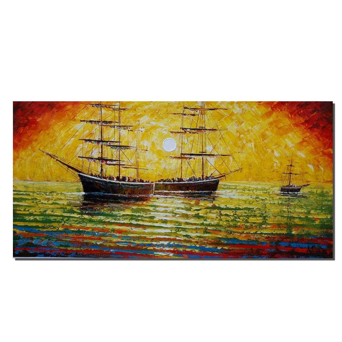 Boat Painting, Original Painting, Bedroom Wall Art, Acrylic Painting - Silvia Home Craft