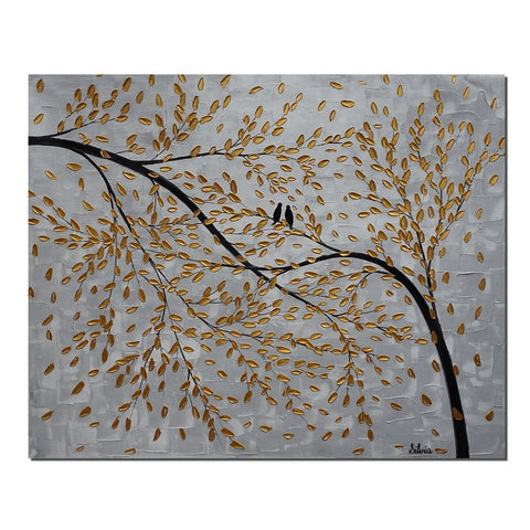 Love Birds Painting, Abstract Wall Art, Large Canvas Painting, Wedding Gift - Silvia Home Craft
