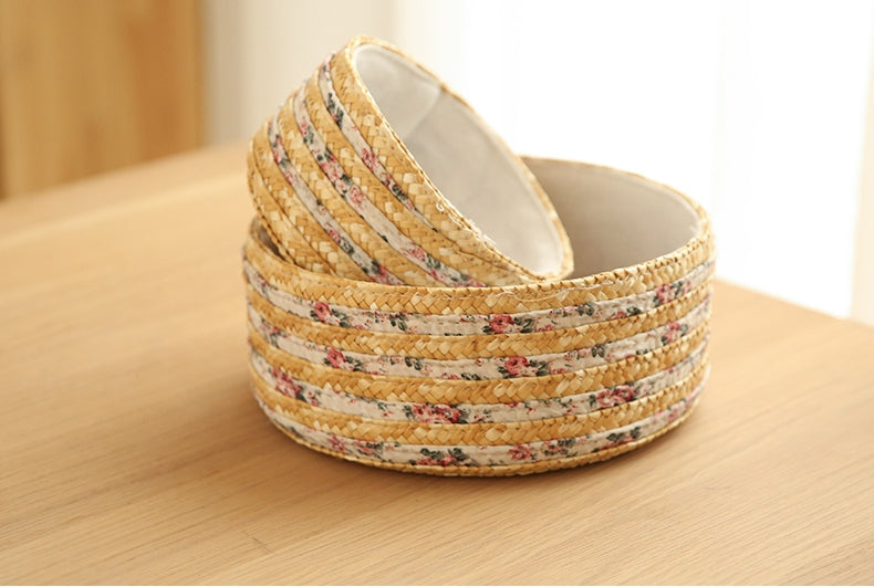 Set of 2, Round Woven Straw Basket with Lining, Storage Basket, Round Basket - Silvia Home Craft