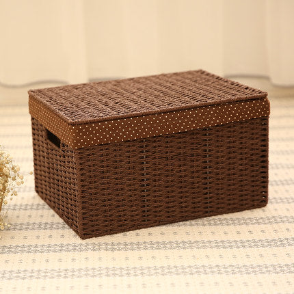 Storage Basket, Deep Brown / Cream Color Woven Straw basket with Cover, Rectangle Basket - Silvia Home Craft