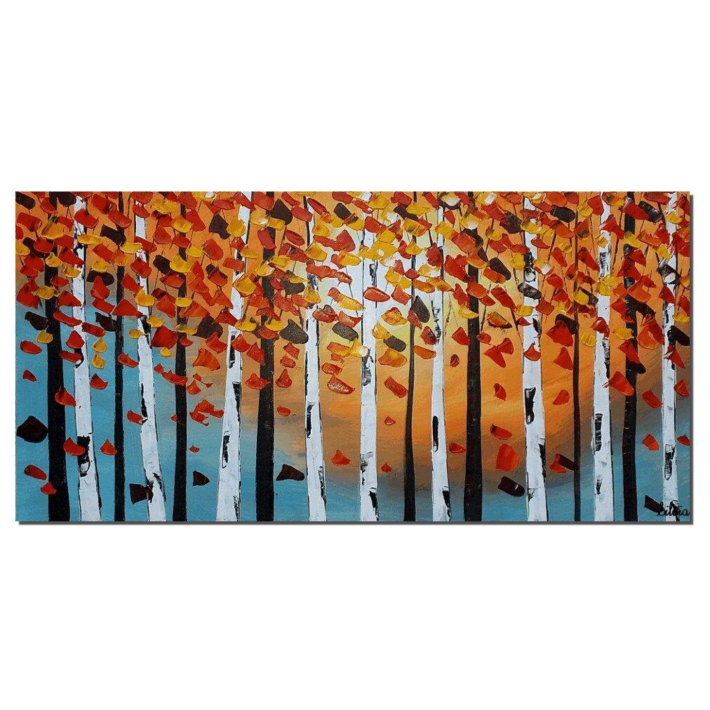 Art Painting, Contemporary Art, Birch Tree Painting, Modern Artwork, Abstract Art Painting, Painting for Sale - Silvia Home Craft