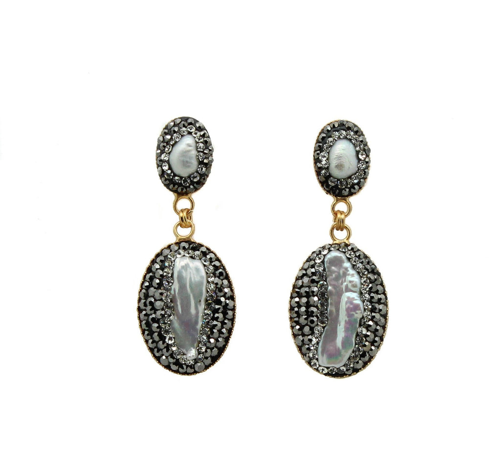 Muska Baroque Pearl and Swarovski Earrings