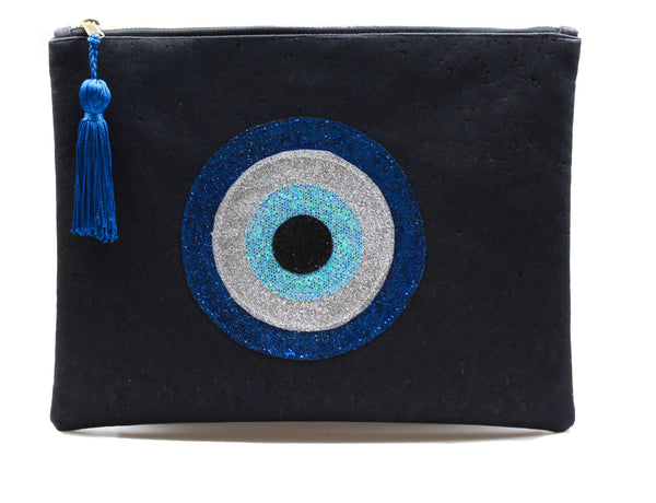 MUSKA Black Cork 4-Layer Evil Eye Clutch