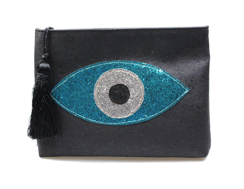 Muska Black Cork Crossbody Convertible 3-Layer Almond Glitter Evil Eye Clutch