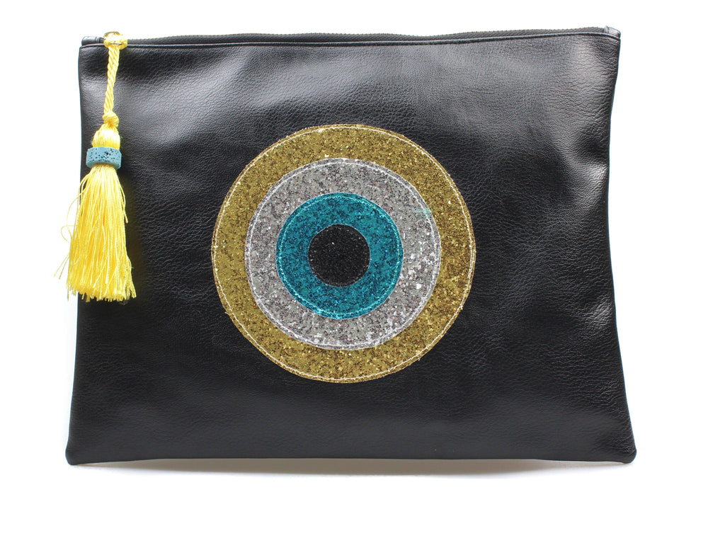 Muska Black Eco-Leather 4-Layer Evil Eye Clutch