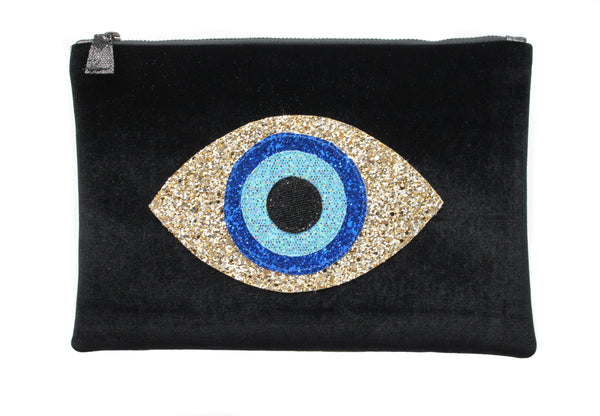 muska Black Velvet Almond Evil Eye Clutch