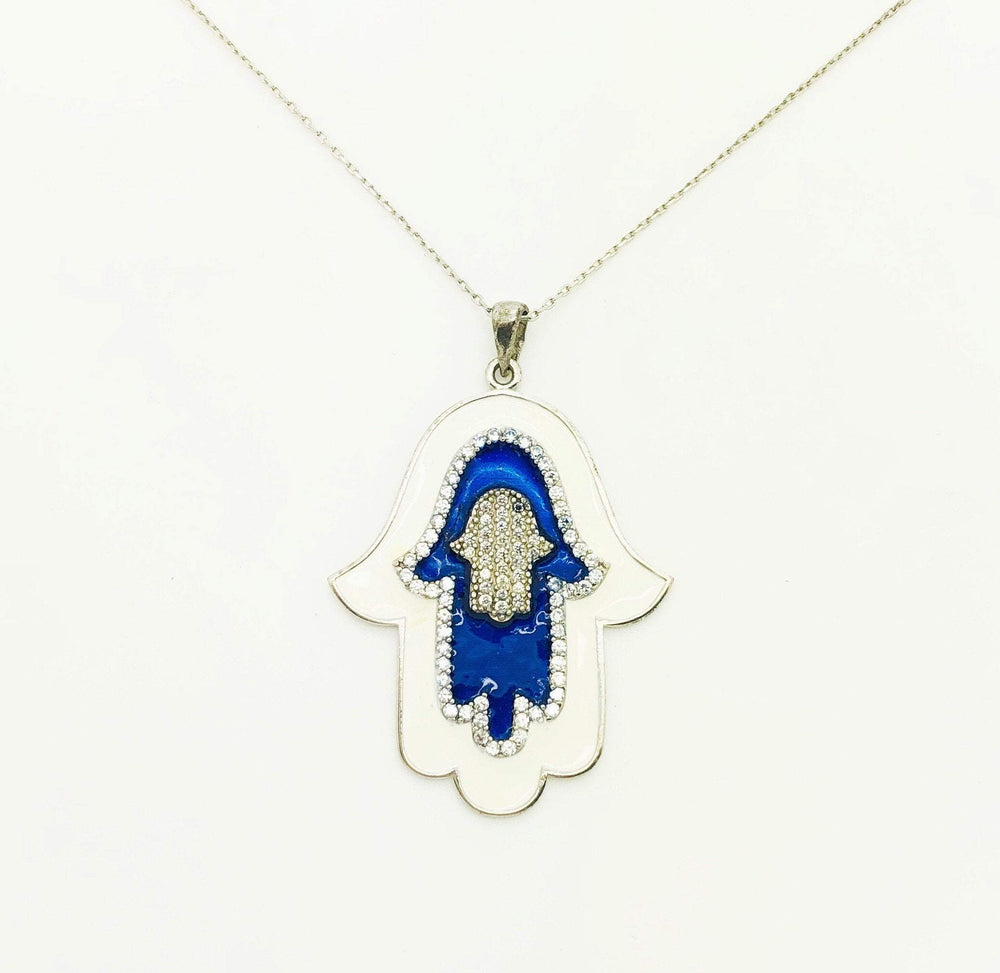 MUSKA Blue and White Enamel CZ Large Hamsa Sterling Necklace