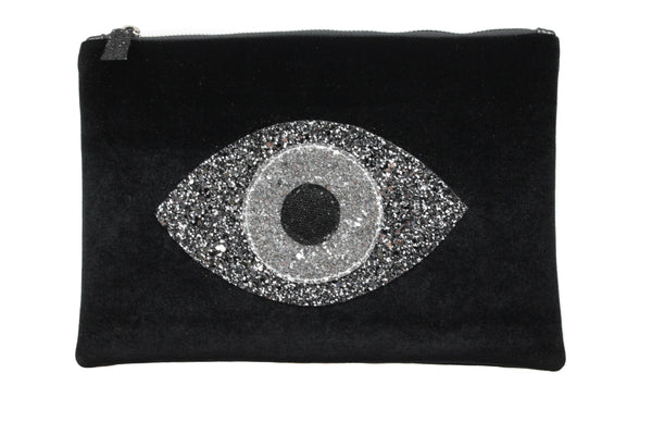 muska Default Title Black Velvet Silver Almond Evil Eye Clutch