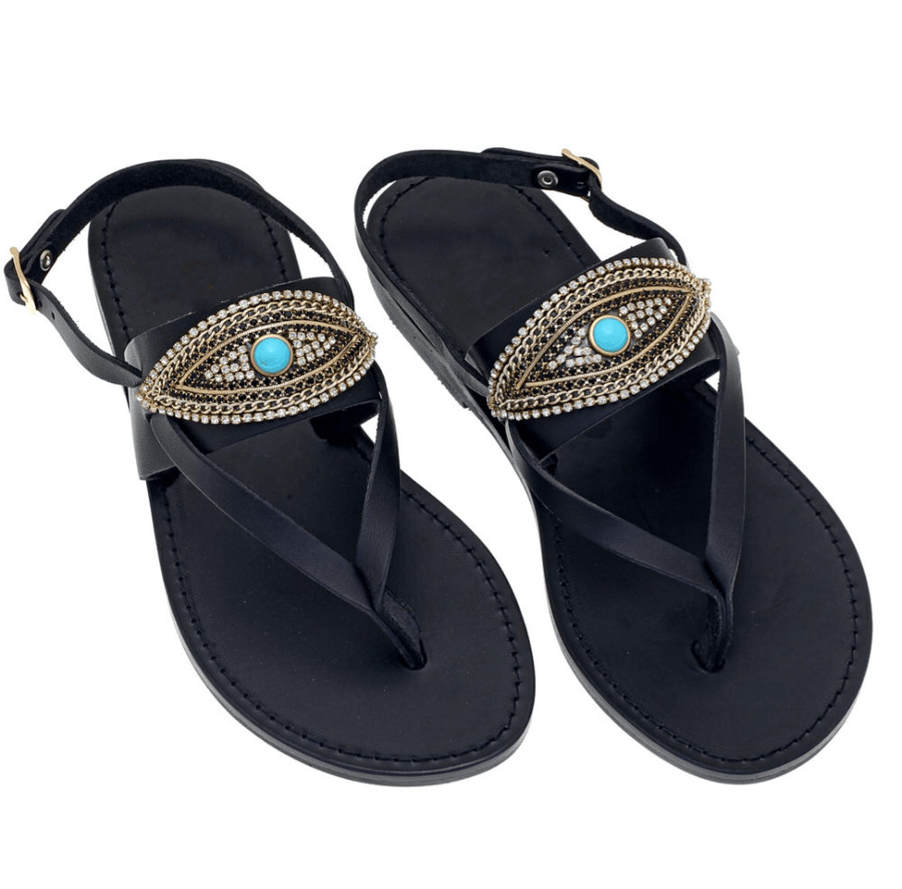 muska EU-38 | US-7 Evil Eye Back Strap Black Leather Slides