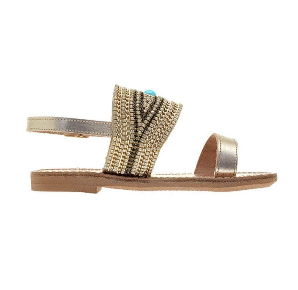 muska Girls Gold Evil Eye Slingback Flat Leather Sandals