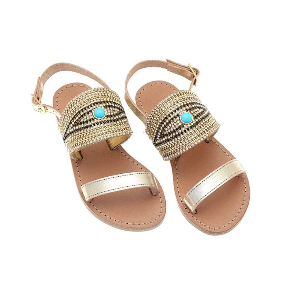Girls Gold Evil Eye Slingback Flat Leather Sandals