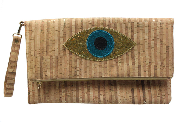 Muska Gold +Turquoise Natural Cork Foldover Glitter Evil Eye Clutch