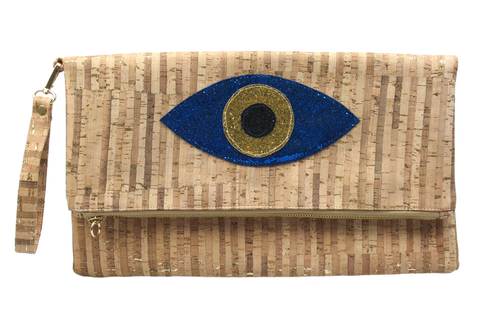 Muska Indigo Blue + Gold Natural Cork Foldover Glitter Evil Eye Clutch