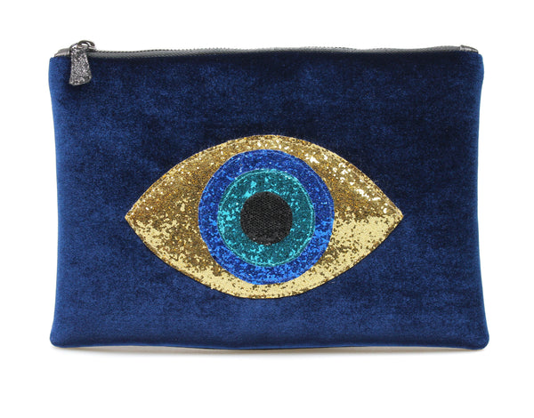 muska Indigo Blue Velvet Gold Almond Evil Eye Clutch
