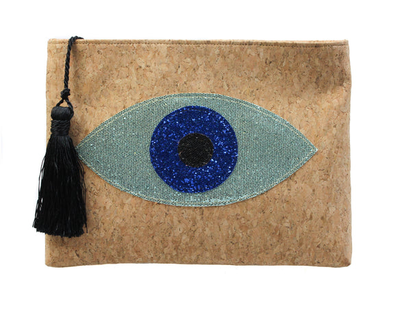 Muska Natural Cork Crossbody Convertible 3-Layer Almond Glitter Evil Eye Clutch
