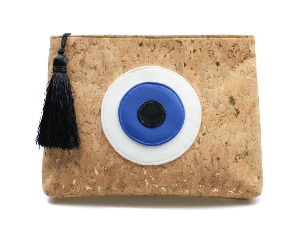 Muska Natural Cork Crossbody Convertible 3-Layer Leather Evil Eye Clutch