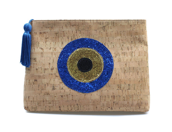 Muska Natural Cork Crossbody Convertible 3-Layer Round Glitter Evil Eye Clutch