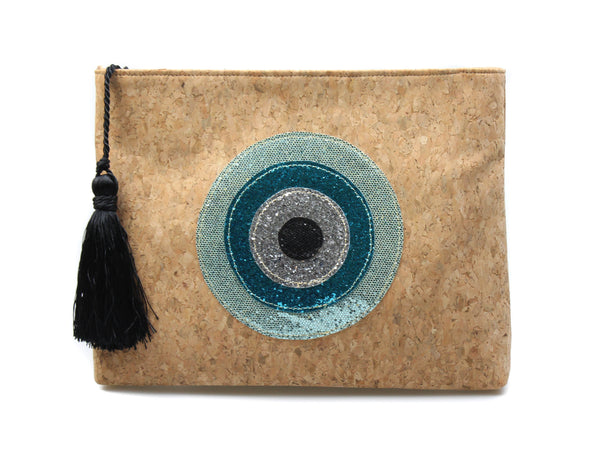 Muska Natural Cork Crossbody Convertible 4-Layer Round Glitter Evil Eye Clutch