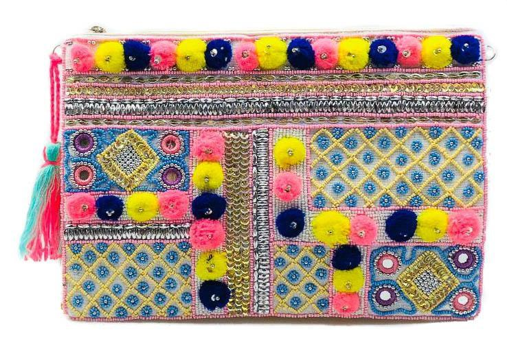 MUSKA Pink Blue and Yellow Beaded Pom Pom Boho Clutch