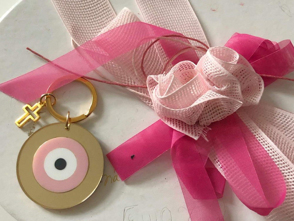 MUSKA Pink Evil Eye And Cross Keyring
