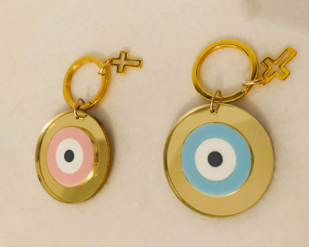 Evil Eye And Cross Keyring
