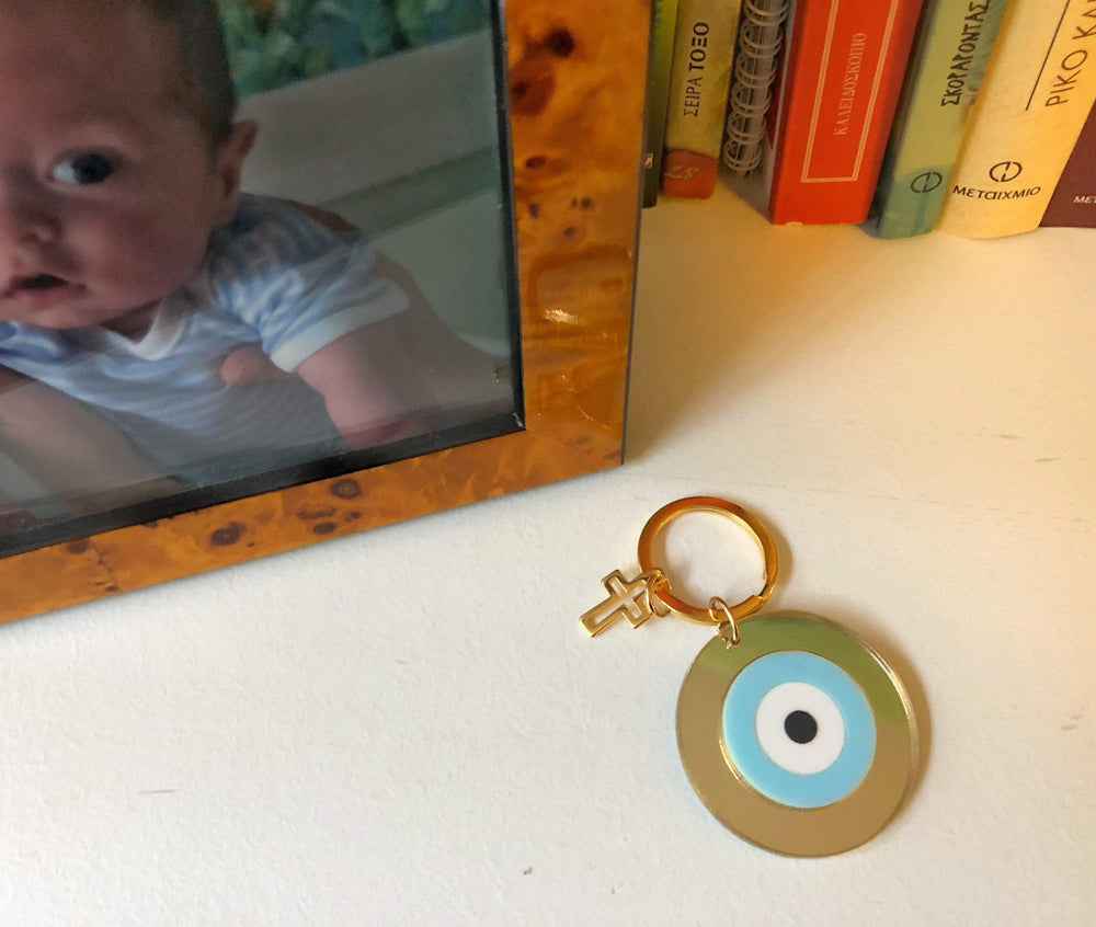 Baby Blue Evil Eye And Cross Keyring