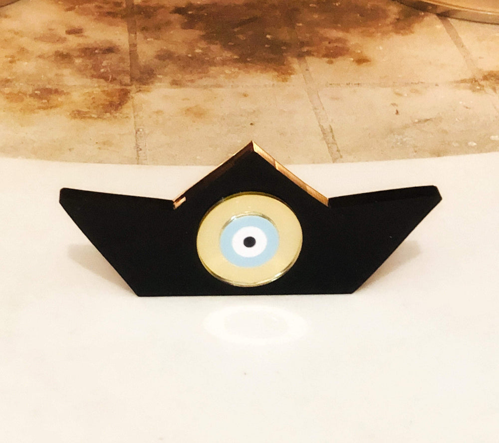 MUSKA Pink Evil Eye Black Decorative Boat