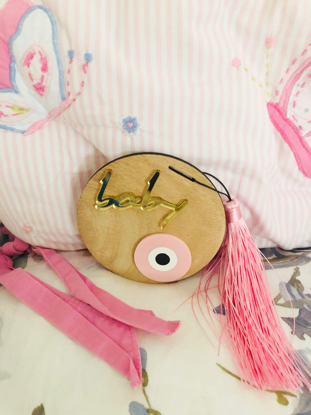 MUSKA Pink Wooden Baby Room Decorative Evil Eye