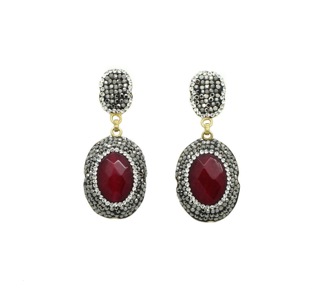 Muska Red Agate and Swarovski Earrings
