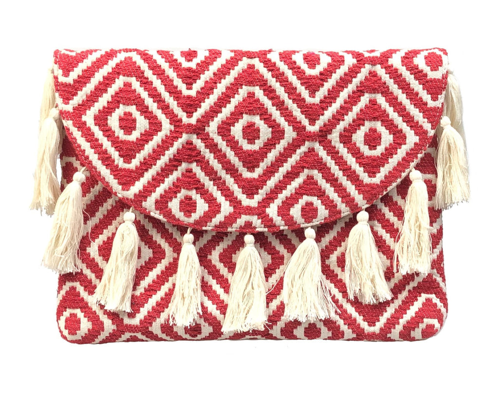 MUSKA Red Handloomed Tassel Large Clutch