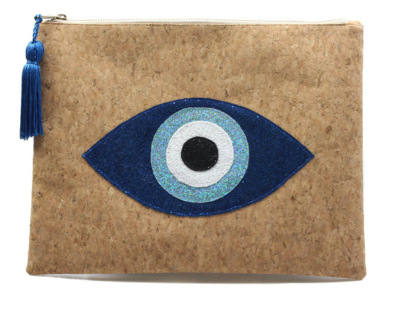 muska Royal blue-Sea Blue-White-Black Natural Cork 4-Layer Almond Evil Eye Clutch