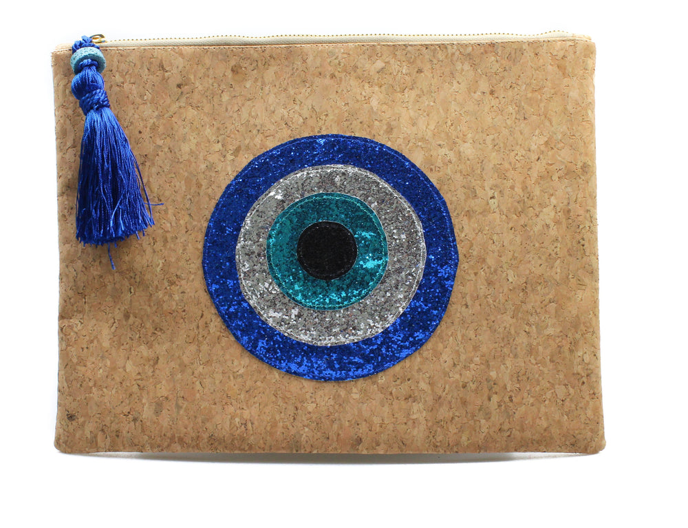 muska Royal blue-Silver-Turquoise-Black Natural Cork Round 4-Layer Evil Eye Clutch