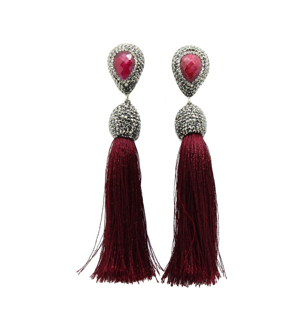 5179b4c15 Ruby and Wine Red Silk Tassel Earrings – MUSKA