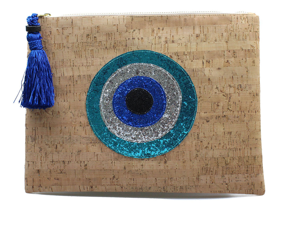 muska Turquoise-Silver-Royal Blue-Black Natural Cork Round 4-Layer Evil Eye Clutch