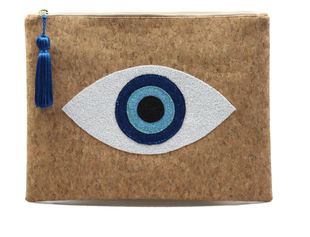 muska White-Royal Blue-Sea Blue-Black Natural Cork 4-Layer Almond Evil Eye Clutch