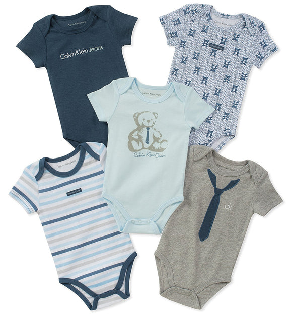 Angel Baby~ Calvin Klein Baby Boys 5 Pack Bodysuits~Scantily33x - Scantily33x
