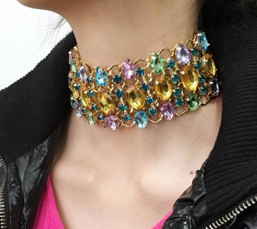 Choker~Multi Colored Collar Choker Necklace~Scantily33x - Scantily33x