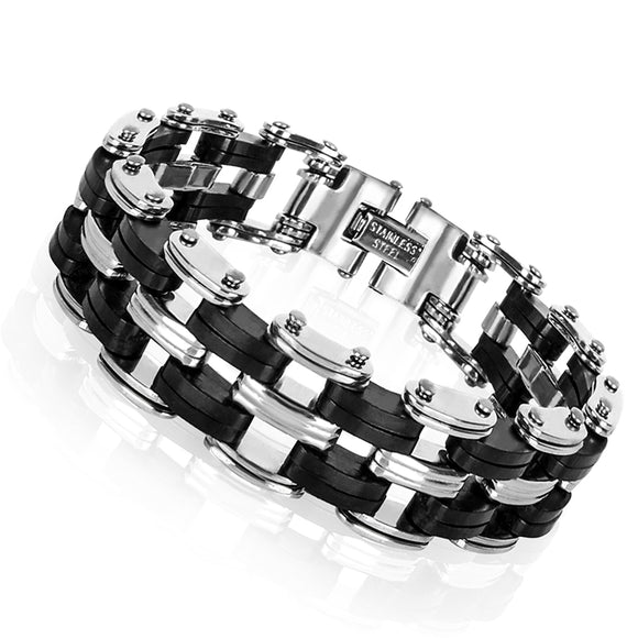 Bracelet~  Black & Chrome Men's Chain-link Heavy Duty Bracelet~Scantily33x - Scantily33x