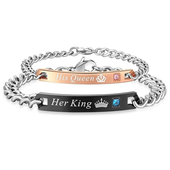 Her's & His* Stainless Steel Crystal Crown Charm Bracelets For Couples Love~Scantily33x - Scantily33x