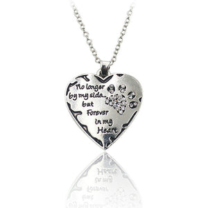 Pendant Necklace! Inscribed To Commemorate Your Beloved Pet's Life~Silver Heart Shaped~Scantily33x - Scantily33x