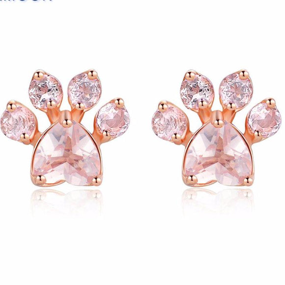 Earrings~ Rose Quartz Paw Print Earrings!~Scantily33x - Scantily33x